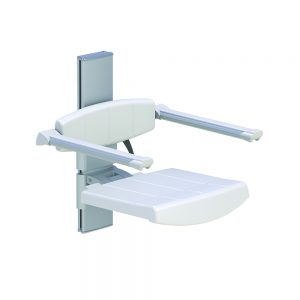 WALL MOUNTED SHOWER SEAT WITH BACKREST & ARMREST, HEIGHT ADJUSTABLE