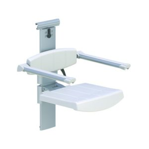 SHOWER SEAT FOR HORIZONTAL TRACK WITH BACKREST & ARMREST, HEIGHT AND SIDEWAYS ADJUSTABLE