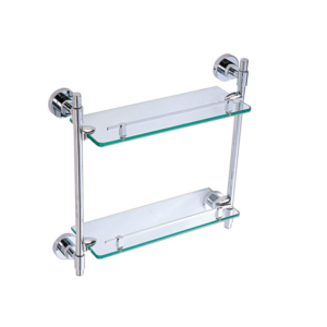 Glass bathroom shelf double