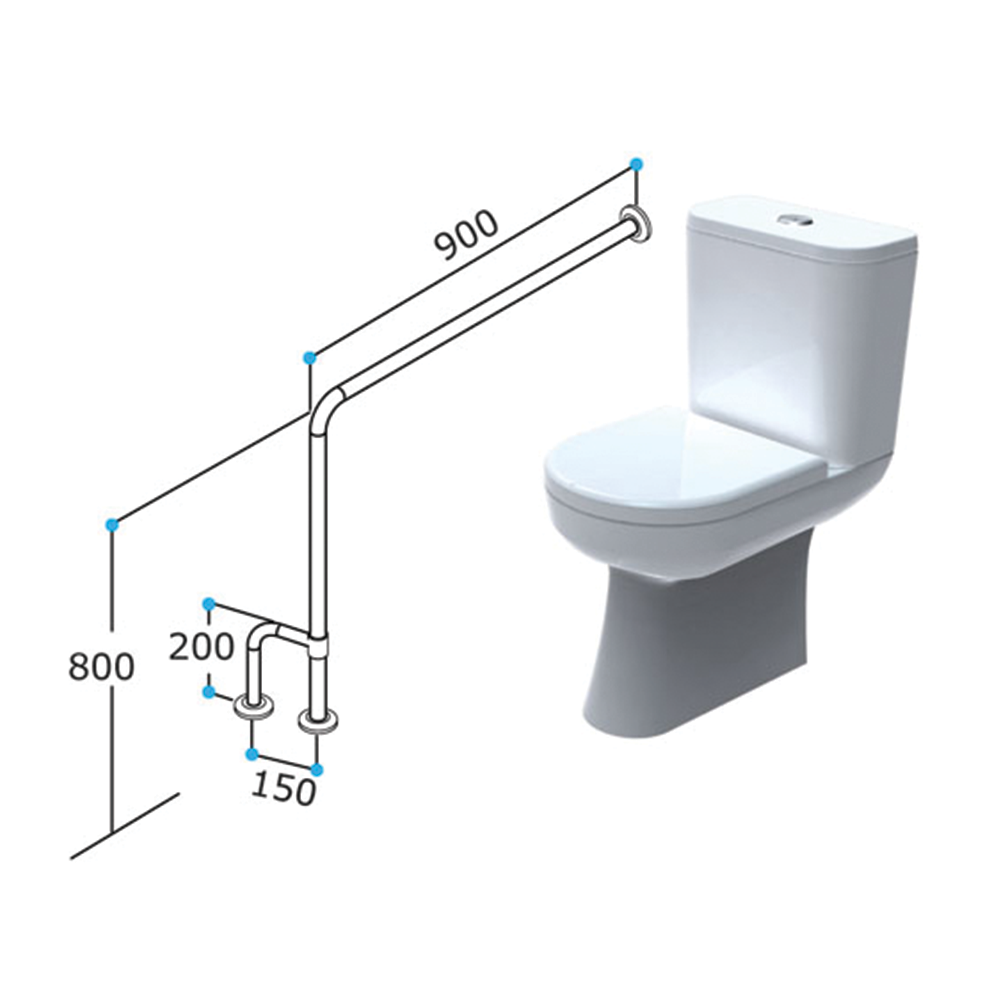 T4 - TOILET GRABRAIL - 90° Bend Floor to Wall Toilet Support Rail 3