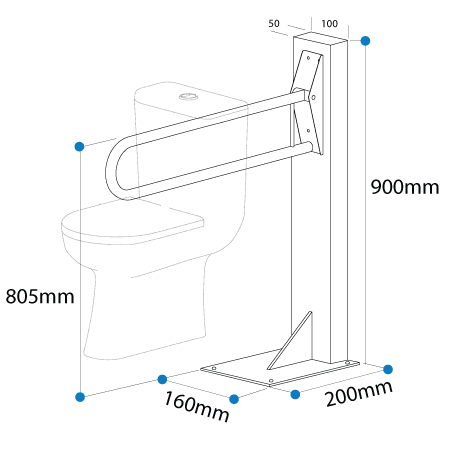 drop down grab rail fiited to a post dimensions