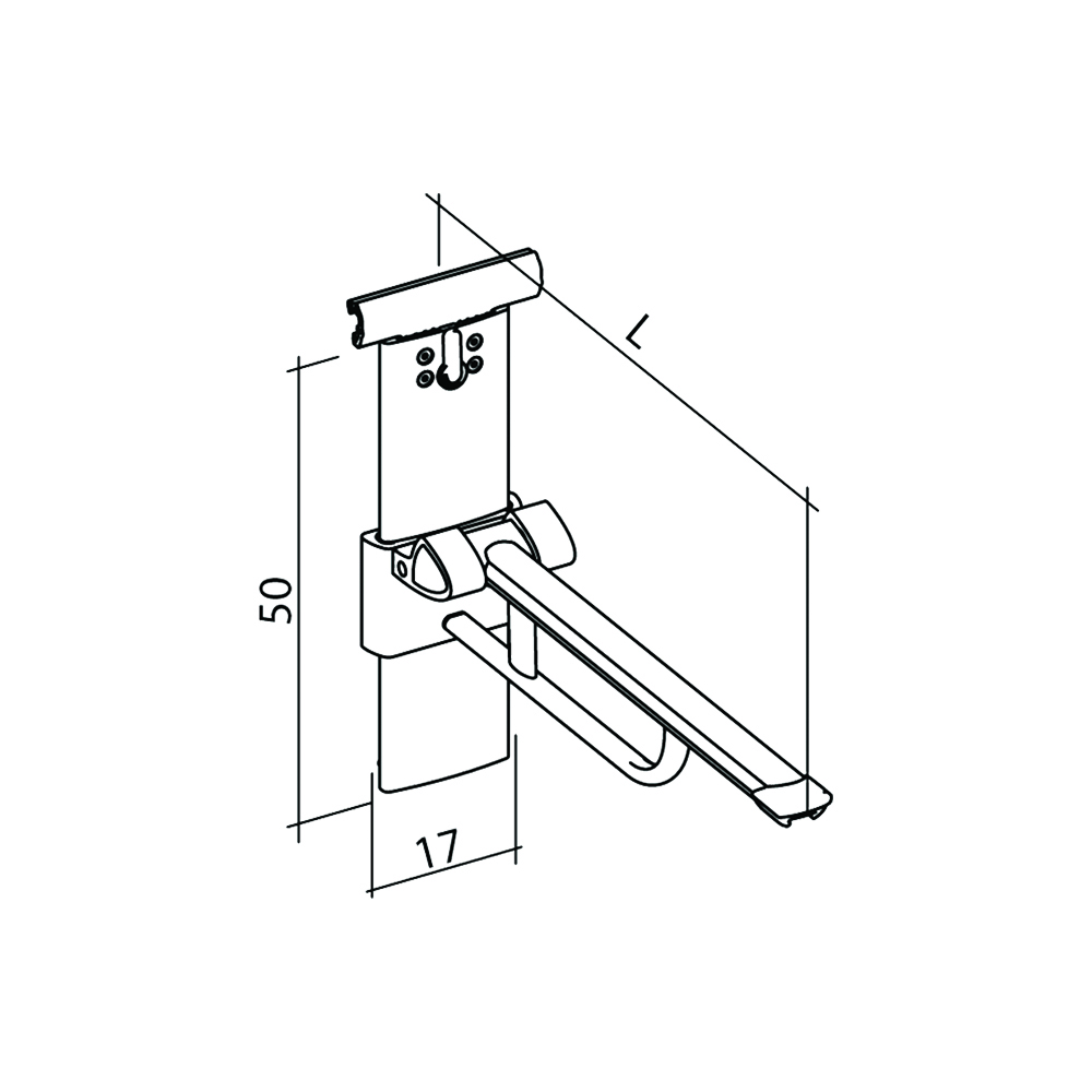 21-141-xx-lift-up-arm-support-for-horizontal-track-height-and-sideways-adjustable-diagram
